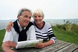 An elderly couple by the sea